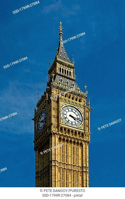 Low angle view of a clock tower, Big Ben, City Of Westminster, London, England
