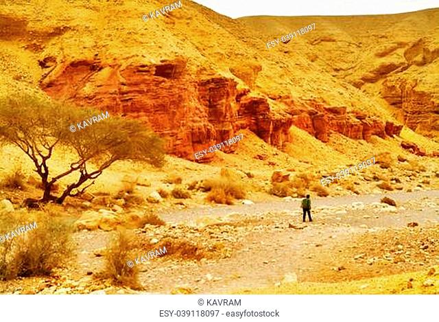 The beginning of the Red canyon in mountains about Eilat in Israel