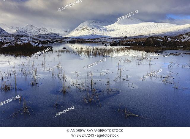 An ice covered River Ba on the southern edge of Rannoch Moor in the Scottish Highlands, captured on a bitterly cold morning in early November following the...