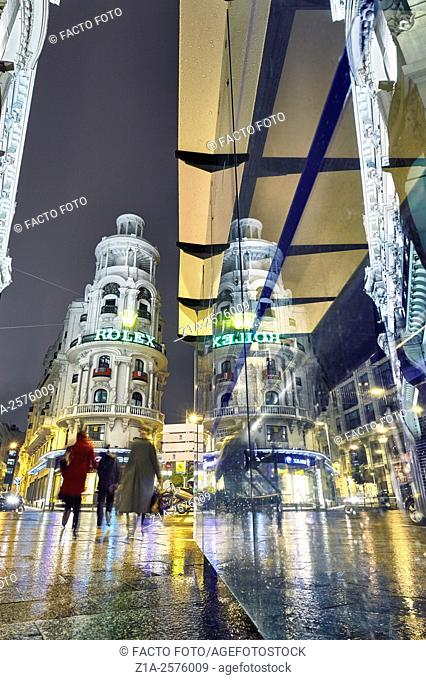 Gran Via street at night. Madrid. Spain