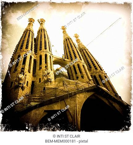 Ornate spires of modern cathedral, Barcelona, Catalonia, Spain