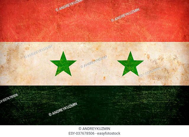 Syria flag on grunge old paper