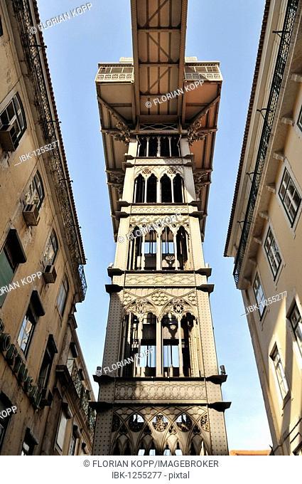 Elevator, Elevador de Santa Justa or Elevador do Carmo, connecting the districts of Baixa and Chiado, Lisbon, Portugal, Europe
