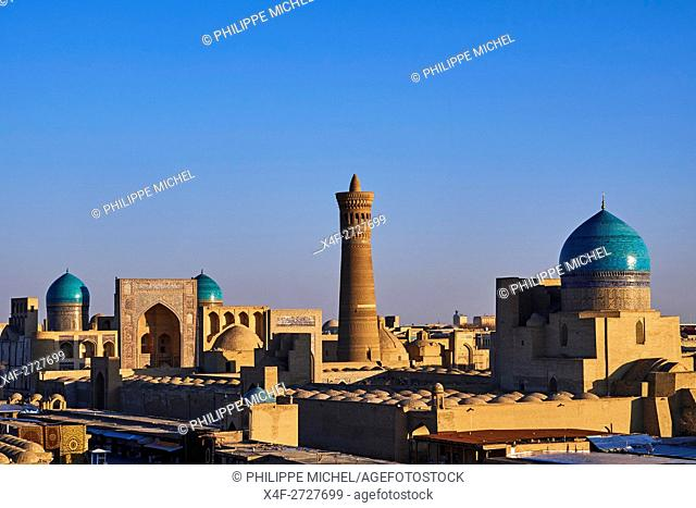 Uzbekistan, Bukhara, Unesco world heritage, Kalon mosque and minaret, Madrasah Mir I Arab