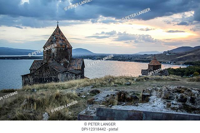 Surp Arakelots (Holy Apostles Church) and Surp Astvatsatsin (Holy Mother of God Church) of the Sevanavank (Sevank Monastery) overlooking Lake Sevan; Gegharkunik...