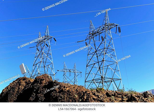 Electrical Power Towers Hoover Dam Colorado River Nevada Arizona