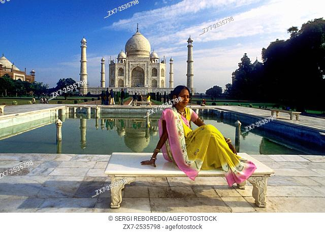 Agra, Uttar Pradesh. Taj Mahal in River Yamuna, Agra, India The Taj Mahal is a mausoleum located in Agra, India, built by Mughal Emperor Shah Jahan in memory of...
