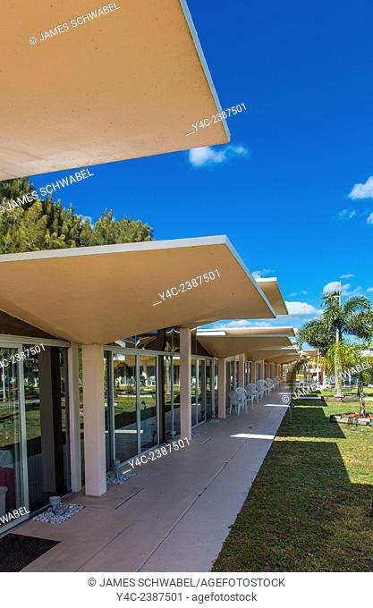 Mushroom Champagne glass style roof on Warm Mineral Springs Motel in North Port Florida was designed by architect Victor A. Lundy