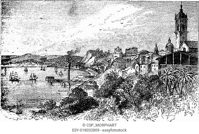 Bahia in Salvador, Brazil, during the 1890s, vintage engraving