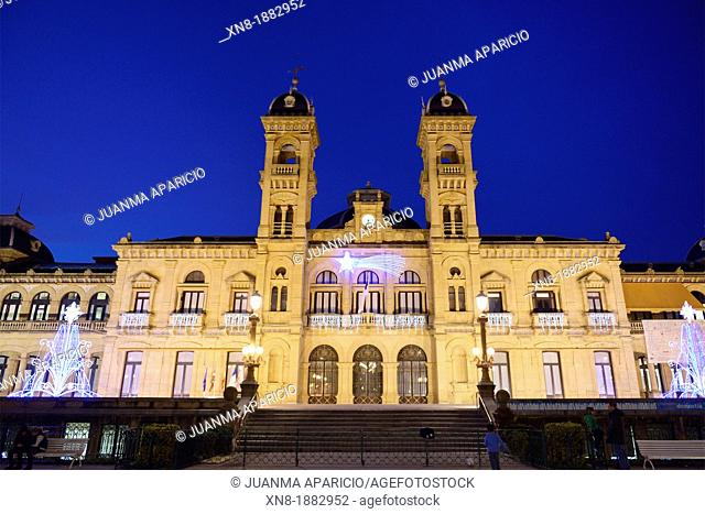 City Hall of San Sebastian at night, Donostia, Guipuzcoa, Basque Country, Spain