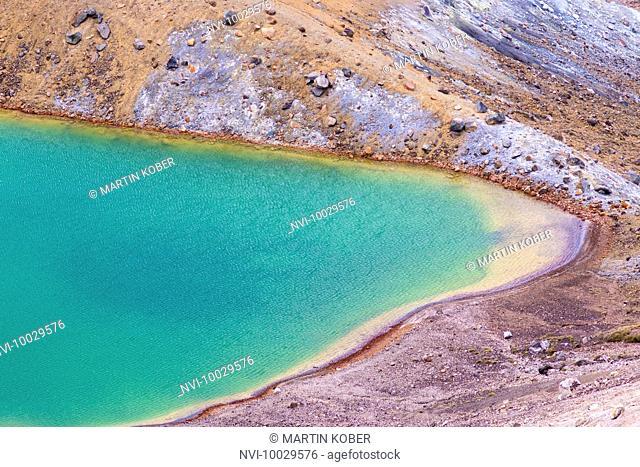 View to the beautiful Emerald Lakes on top of the Tongariro Alpine Crossing, Tongariro National Park, North Island, New Zealand