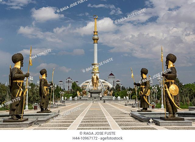 Ashgabat, Turkmenistan, Central Asia, Asia, architecture, avenue, city, colourful, golden, independence, monument, park, skyline, statues, touristic, travel