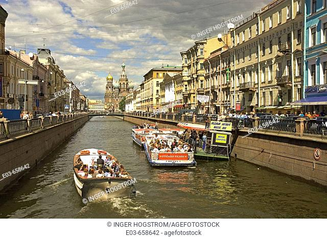 Russia. St. Petersburg. Tour boats on the Griboedova Canal