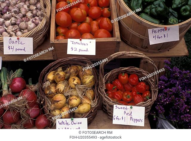produce, vegetables, outdoor market, Vermont, VT, Vegetables for sale at the Saturday Farmers Market in Montpelier