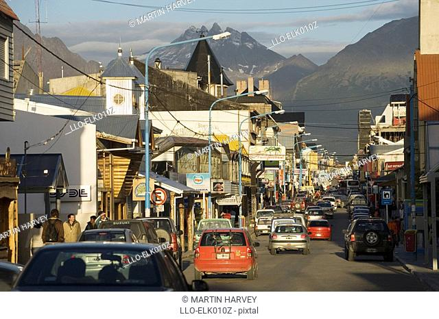 Busy Street Scene of Ushuaia - Capital of Tierra del Fuego  Argentina, South America
