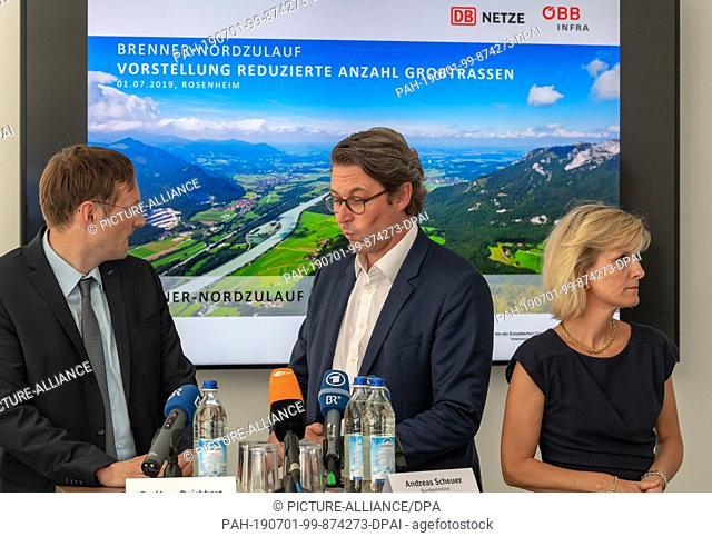 01 July 2019, Bavaria, Rosenheim: Hans Reichhart (l, CSU), Minister of State for Housing, Construction and Transport, Andreas Scheuer (M, CSU)