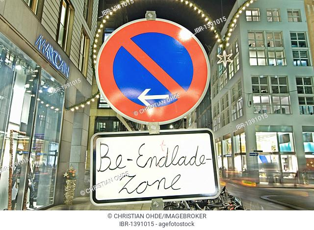 Sign Be-Endlade-Zone, German with spelling mistake