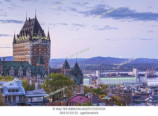 Canada, Quebec, Quebec City, elevated skyline with Chateau Frontenac Hotel, dusk