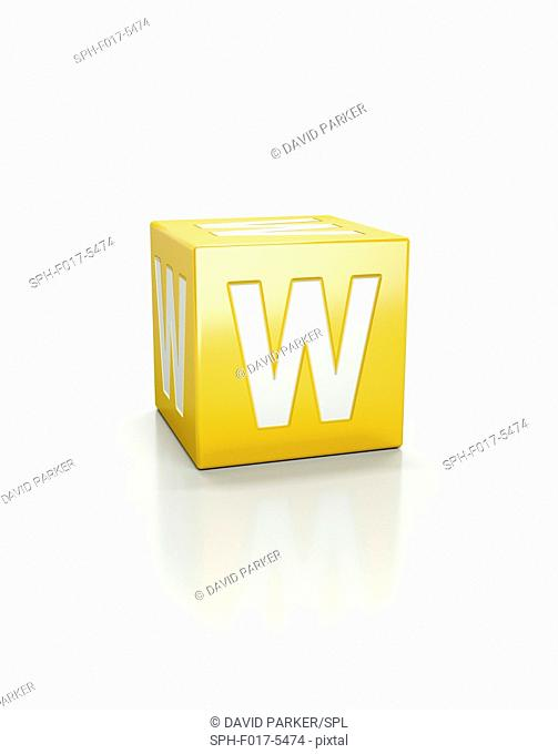 Yellow cube with letter W