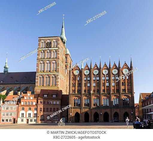 The Alte Markt (old market) with the iconic town hall and the church St. Nikolei (Saint Nicholas). The Hanseatic City Stralsund