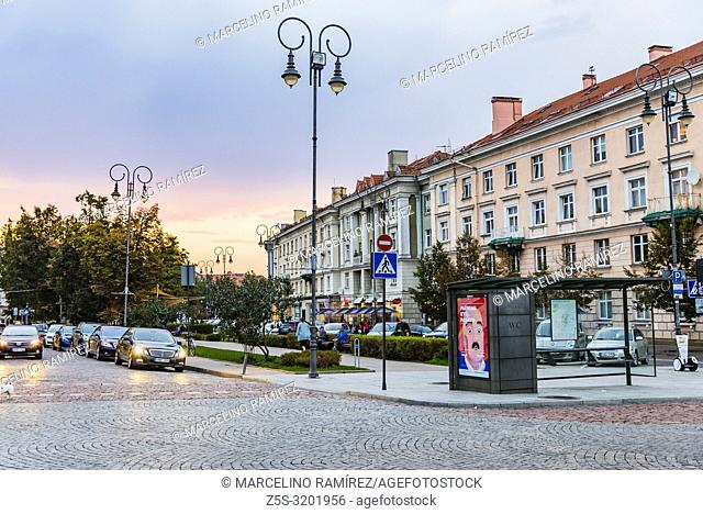 Street of the old town at nightfall. Vilnius, Vilnius County, Lithuania, Baltic states, Europe
