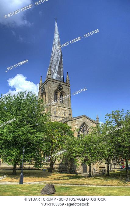 Twisted Spire at St Mary and All Saints Church in Chesterfield, Derbyshire, UK