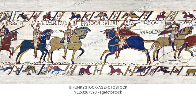 11th Century Medieval Bayeux Tapestry - Scene 49 - William is told that the Saxon army is close. Battle of Hastings 1066