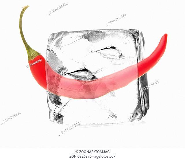 Peperoni in einem Eiswürfel freigestellt, isoliert mit weißem Hintergrund
