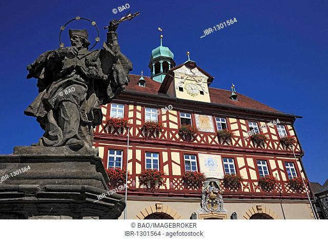 Historic Town Hall of Bad Staffelstein, Lichtenfels region, Upper Franconia, Bavaria, Germany, Europe