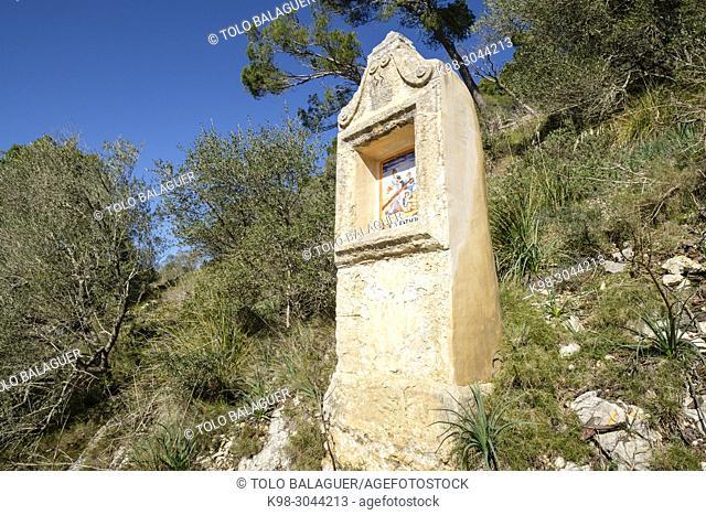 estacion de Viacrucis, calvario del Viacrucis del Camí de Sant Salvador, Felanitx, Mallorca, balearic islands, Spain