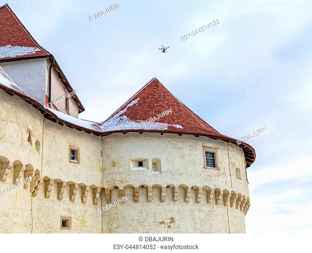 Drone filming the old castle Veliki Tabor in Croatia, a Croatia's northwestern fortification system