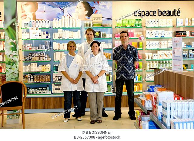 Photo essay in a chemist's shop. Team of the chemist's shop of Ferrières in Gournay-en-Bray, France