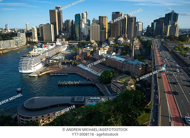 "Sydney skyline with """"The Rocks"""" in foreground and skyscrapers of the CBD to the rear. Sydney, New South Wales, Australia"