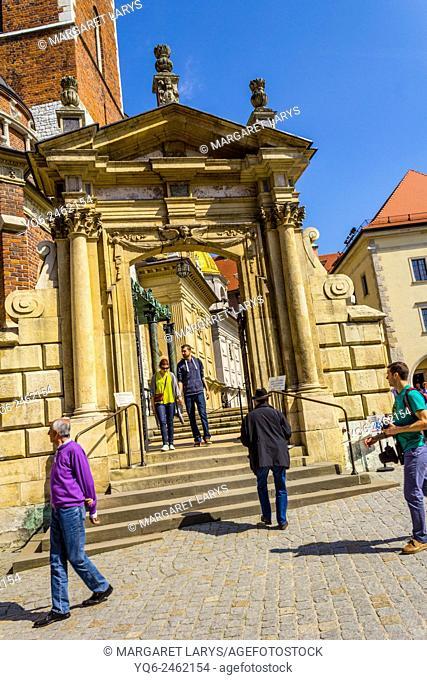Gate to King Sigismund's Cathedral and Chapel, Royal Castle at Wawel Hill, Krakow, Poland