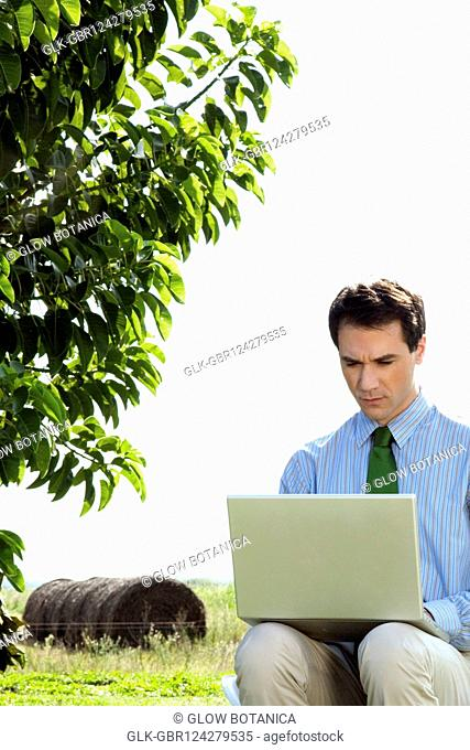 Businessman using a laptop in a field