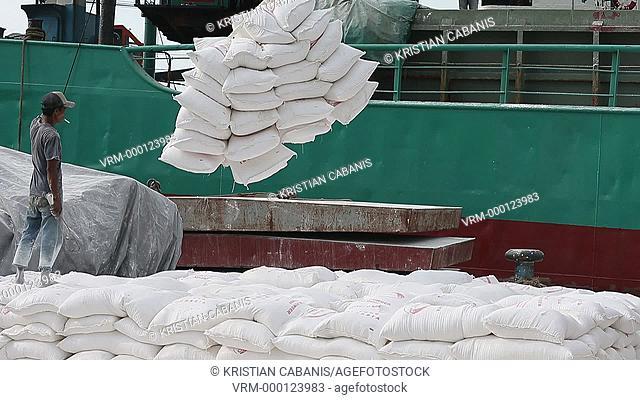 Off-loading goods in the harbor from schooners, Sunda Kelapa, Jakarta, Java, Indonesia, Southeast Asia