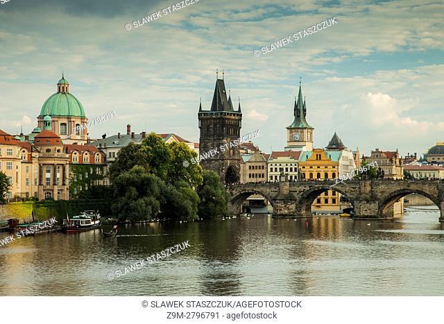 Autumn afternoon on Vltava river in Prague, Czech Republic