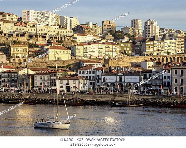 View over Douro River towards Sandeman Winery, Vila Nova de Gaia, Porto, Portugal