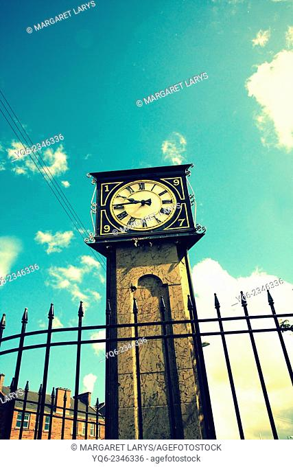 Vintage street clock in vintage style, Glasgow, Scotland