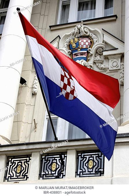 Flag waving in front of Sabor, Parliament of Croatia, Zagreb, Croatia