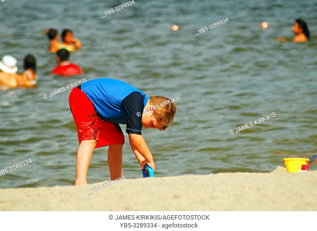 A young boy digs at the beach