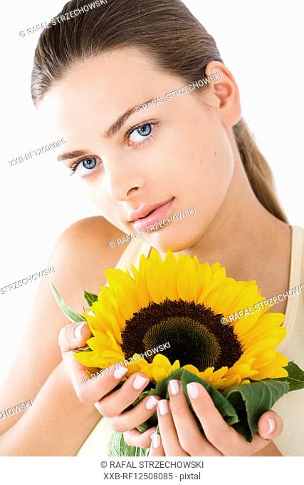 woman with sunflower