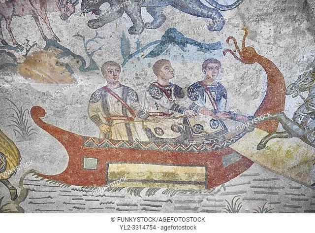 Ambulatory of the Great Hunt Roman mosaic, small boat, room no 28, at the Villa Romana del Casale, first quarter of the 4th century AD. Sicily, Italy