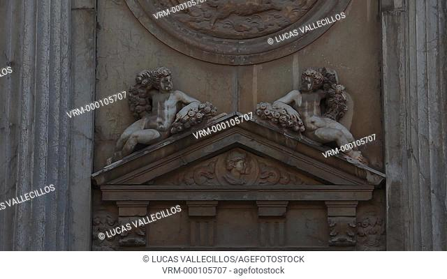 Detail, Facade of Charles V's palace, Alhambra. Granada, Andalusia. Spain