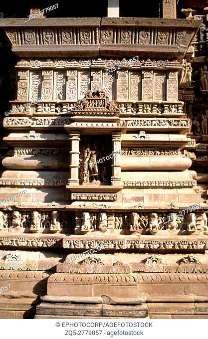 Khajuraho (india) Lakshmana temple wall circa 950 A. D