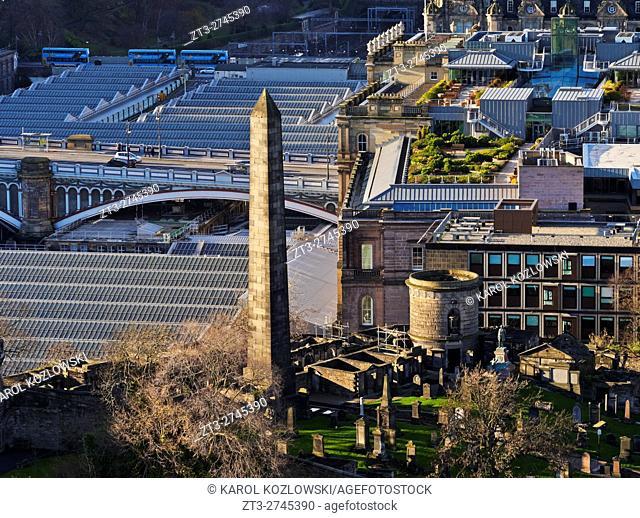 UK, Scotland, Lothian, Edinburgh, Calton Hill, View from the Nelson Monument towards the Old Calton Burial Ground.