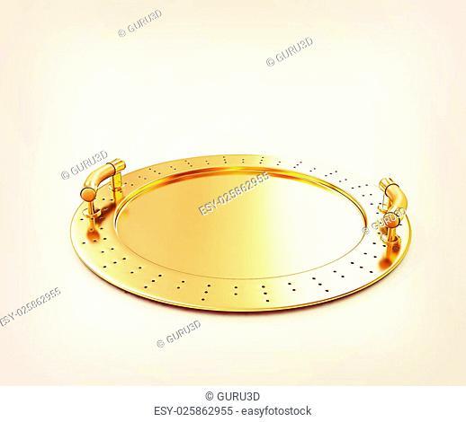Gold salver on a white background. 3D illustration. Vintage style