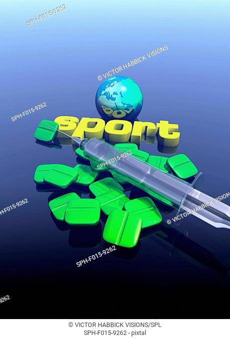 Sports drugs, conceptual illustration