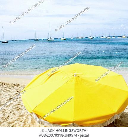 High angle view of a beach umbrella on the beach
