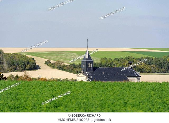 France, Marne, Valmy, church nestled in its small valley